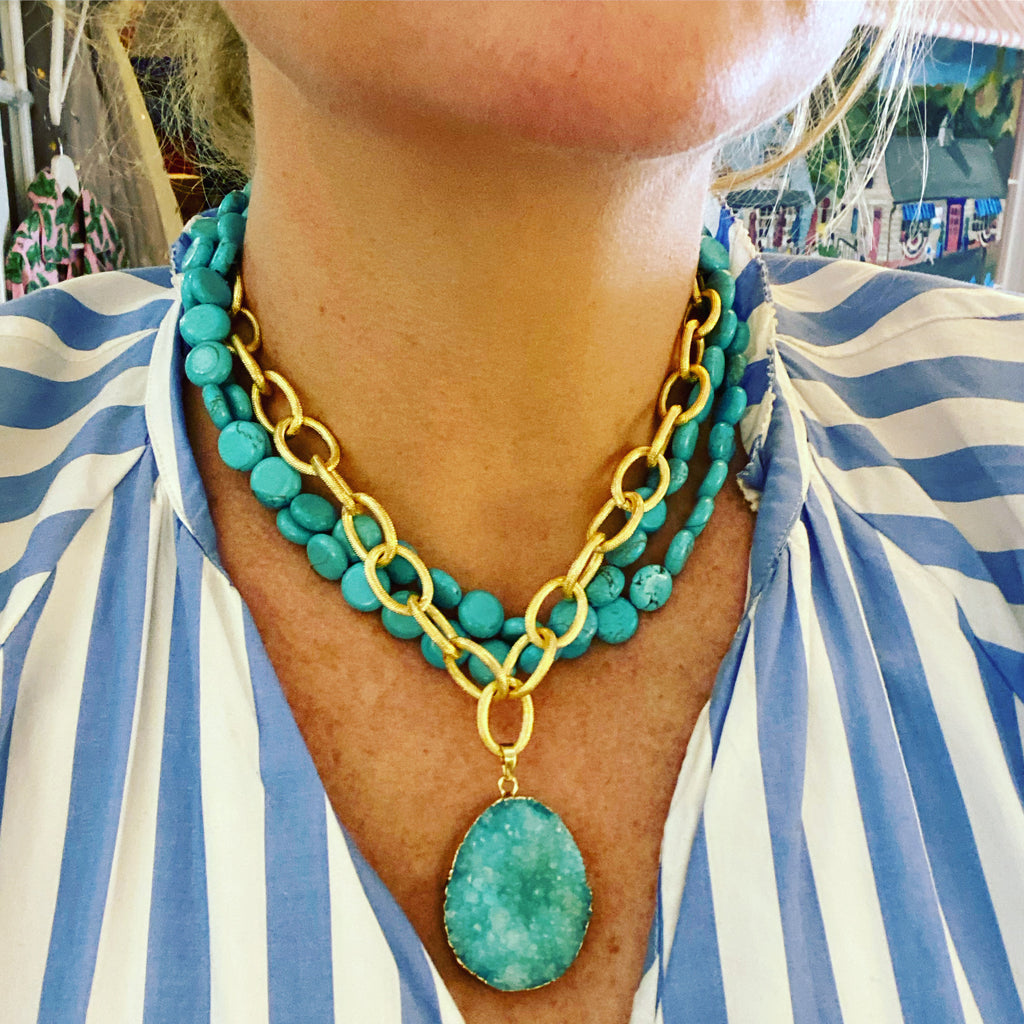 Turquoise and Gold Jeweled Necklace