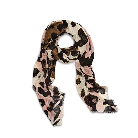 Updated Camoflauge Print Scarf with Eyelash Fringe
