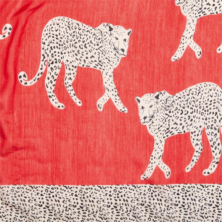RED Hear Me Roar Cheetah Scarf w/ Spotted Border