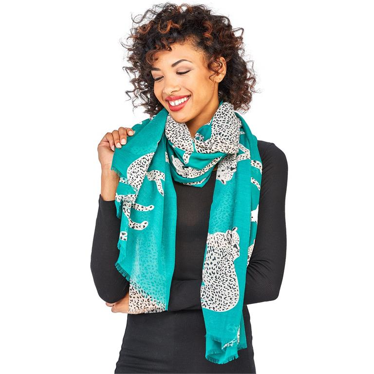 Emerald Hear Me Roar Cheetah Scarf w/ Spotted Border
