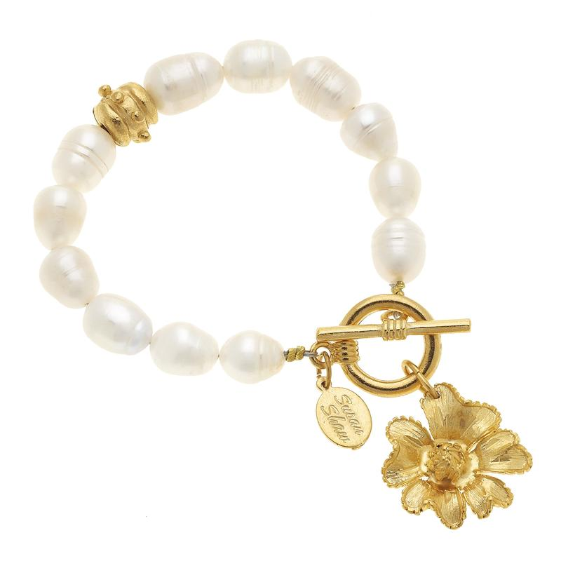 Primrose Flower and Pearl Bracelet 2177