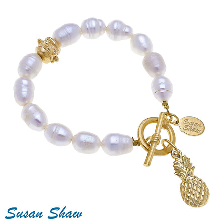 Gold Pineapple Pearl Toggle 2794W Bracelet
