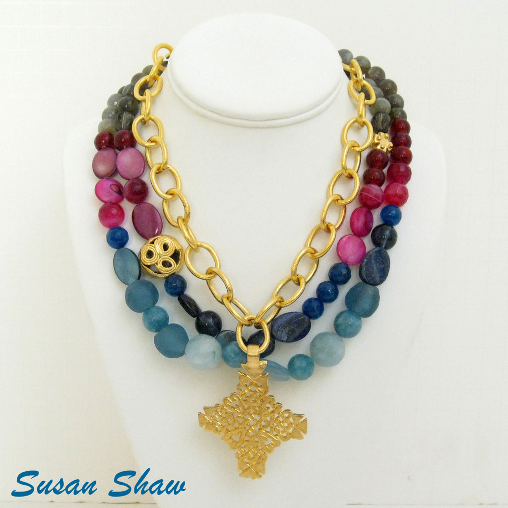 Gold Cross Necklace with Magenta & Teal Precious Stones 3125G