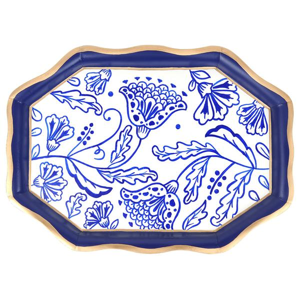 Navy floral scratching tray