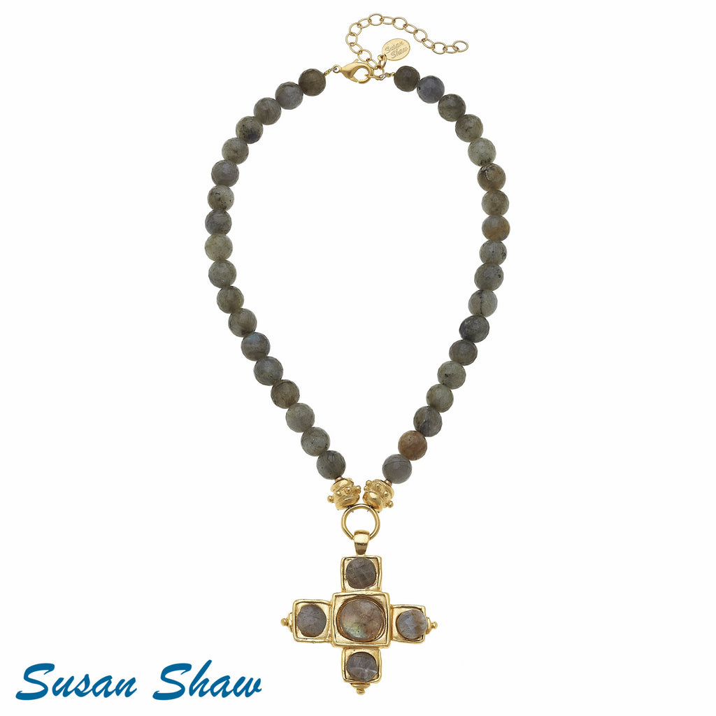Gold Cross + Labadorite Grey Necklace 3294L