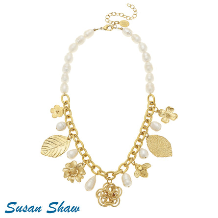 Gold Flower, Leaf, Bee Pearl Necklace 3371W