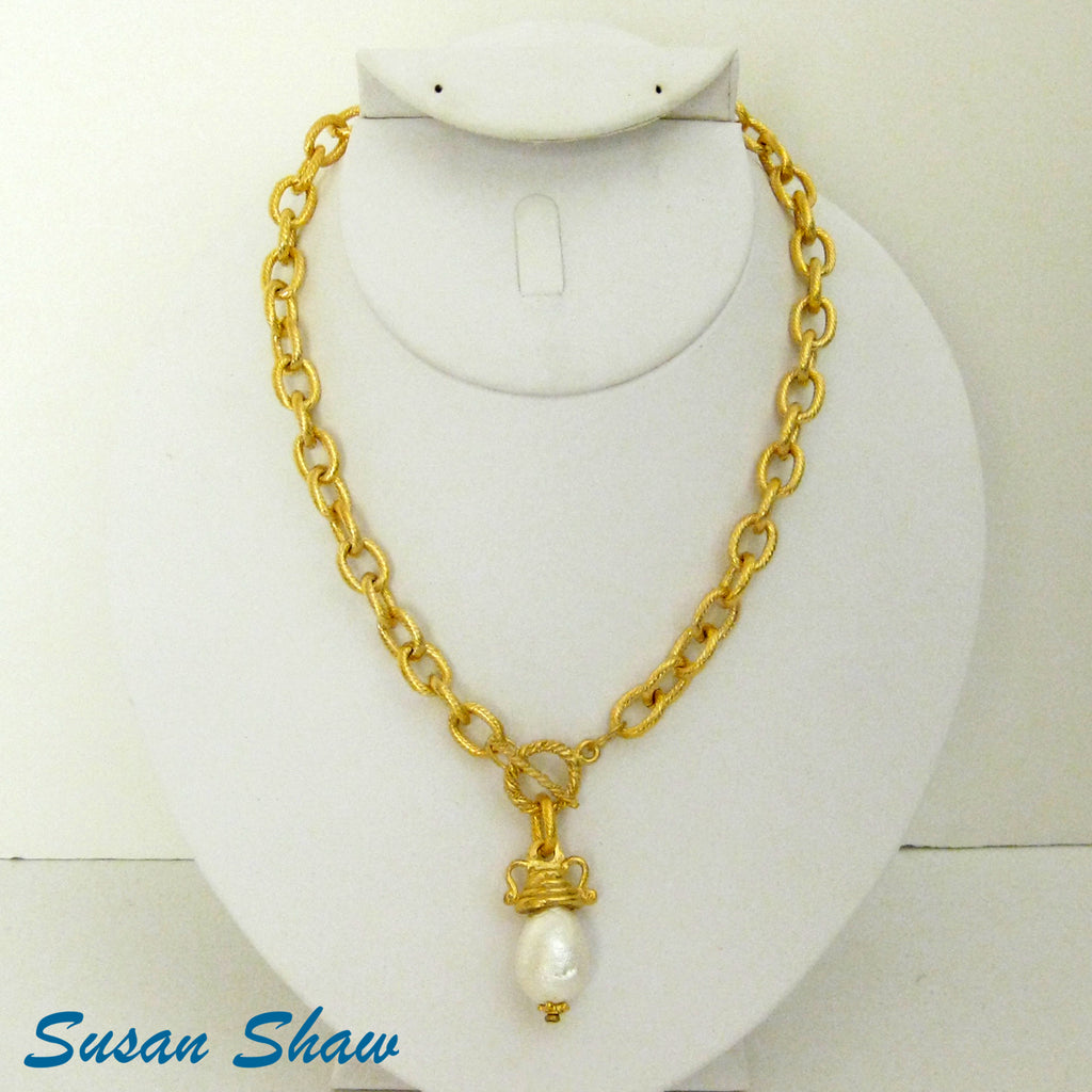 Cotton Pearl on Handcast Gold Necklace 3606WG