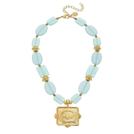 Gold Square Bee Inaglio on Aqua Quartz Necklace