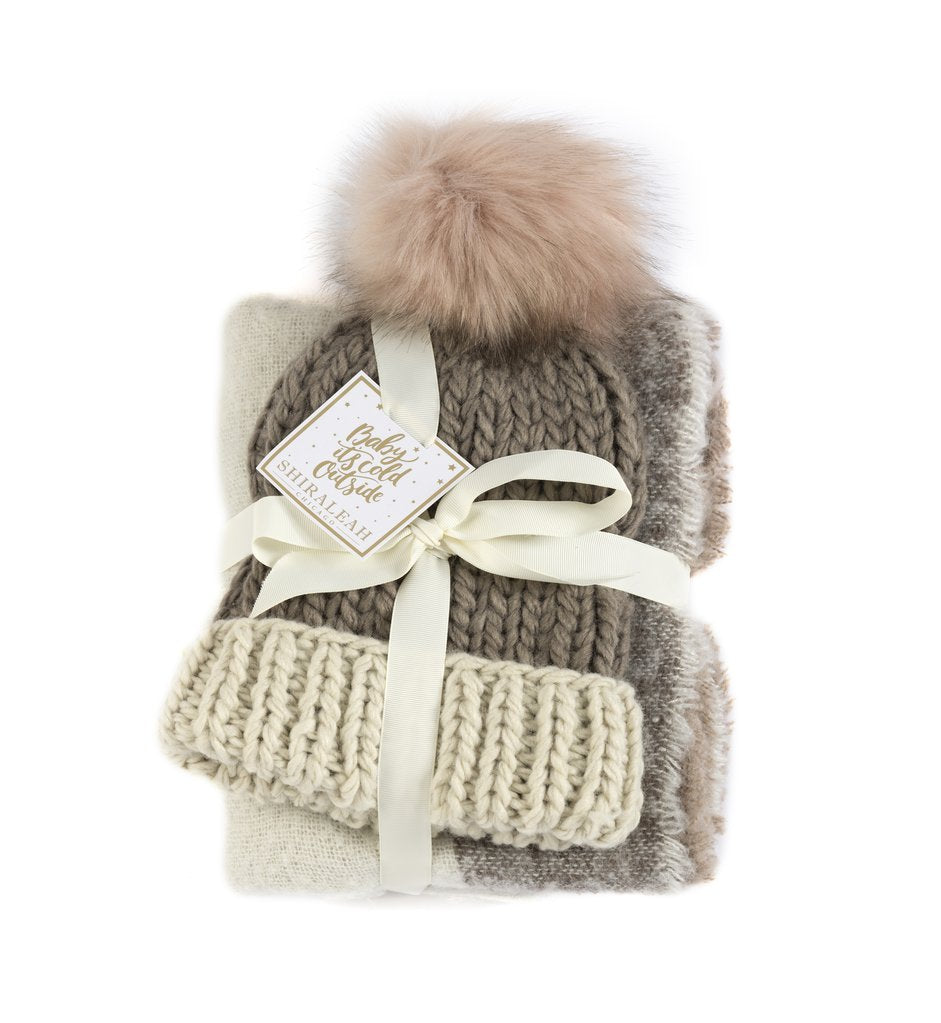 Abby Scarf & Hat Set, Blush