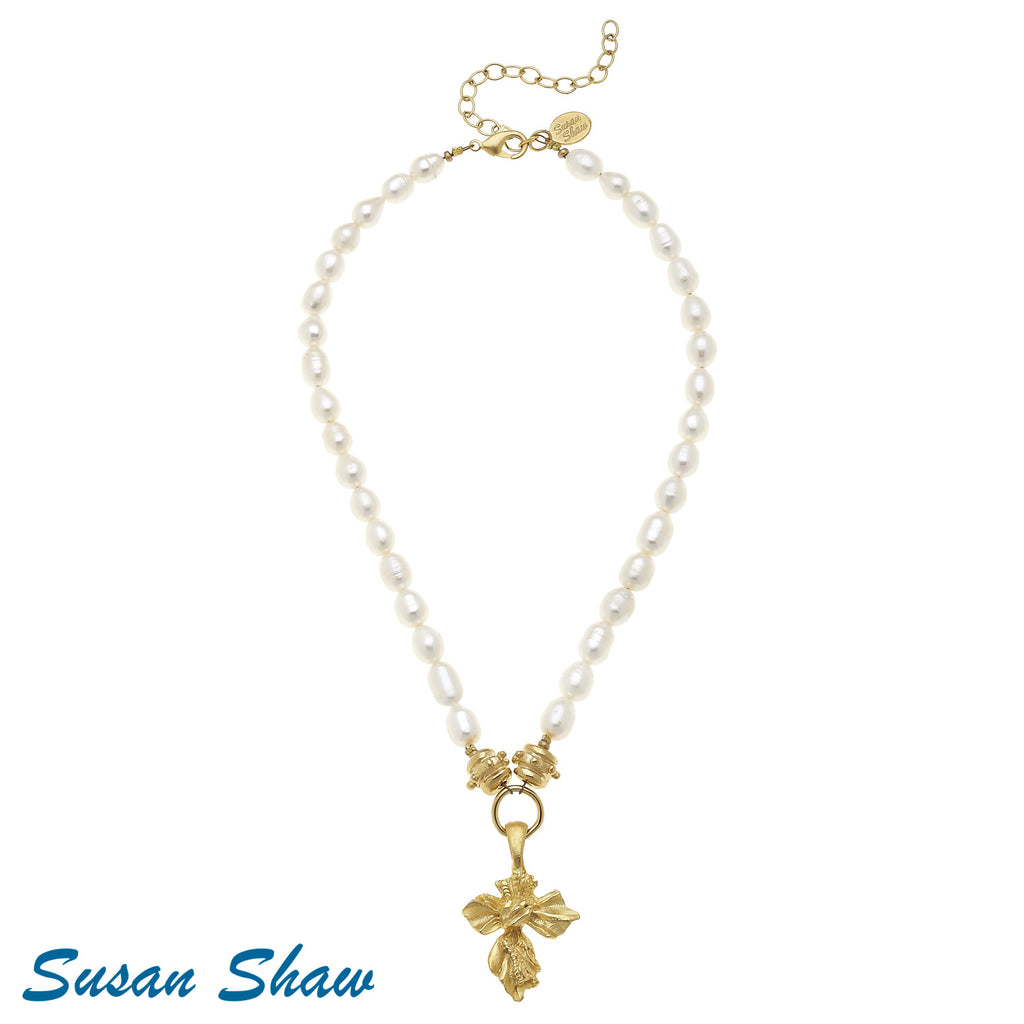 Gold French Cross Fresh Water Pearl 3775W Necklace