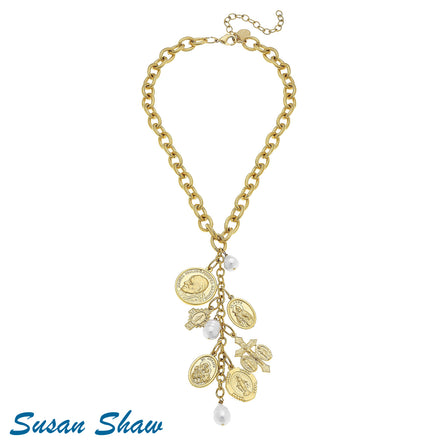 Handcast Gold Saints Charm with Freshwater Pearl 3898G