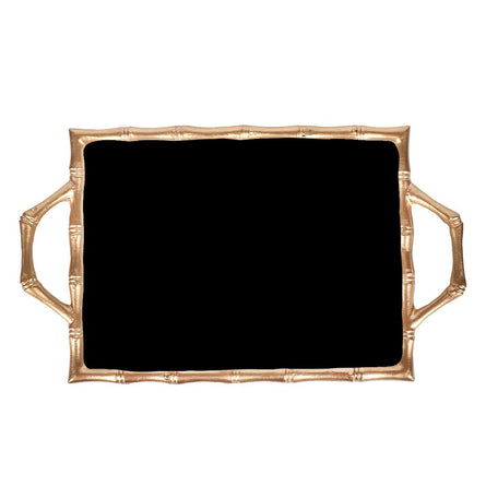 Black Color Block Bamboo Tray 10x14