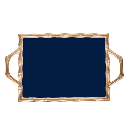 Navy Color Block Bamboo Tray 10x14