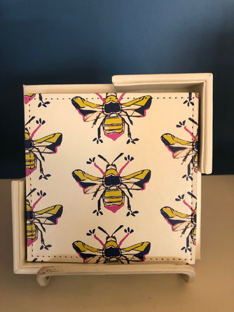 Navy Bees Coaster Set/6