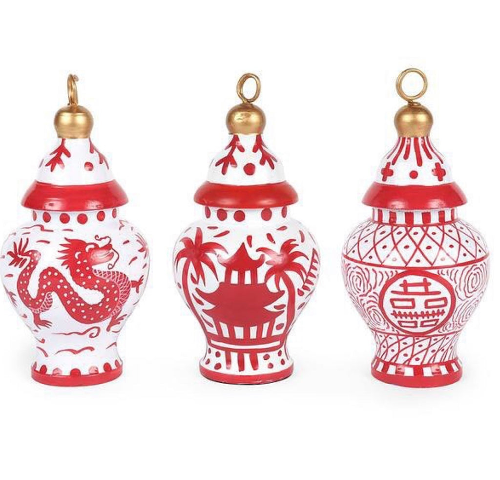 Red Ginger Jar Ornaments by Tom Tom