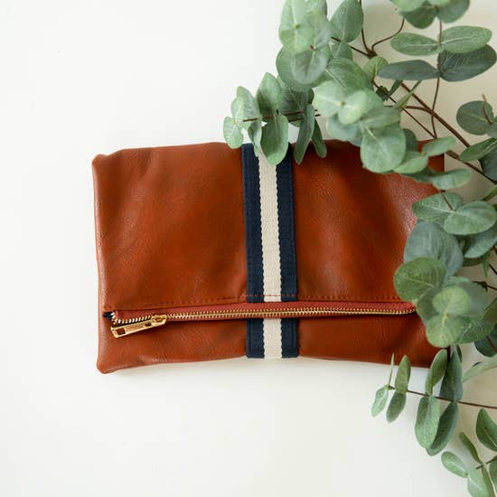 Preppy Stripe Foldover Clutch: Tan with Navy Cream Stripe
