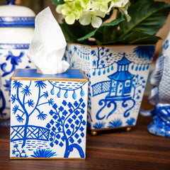 Blue Garden Party Tissue Box