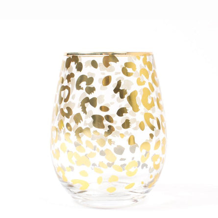 Gold Leopard Stemless Glass