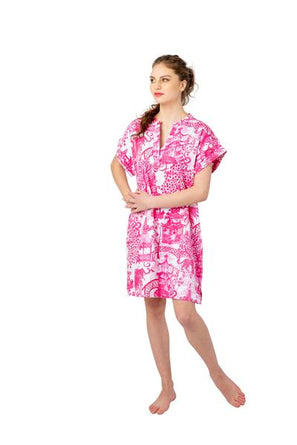 Pink Garden Party Day Dress SATEEN
