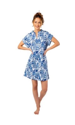 BLUE Garden Party Day Dress SATEEN