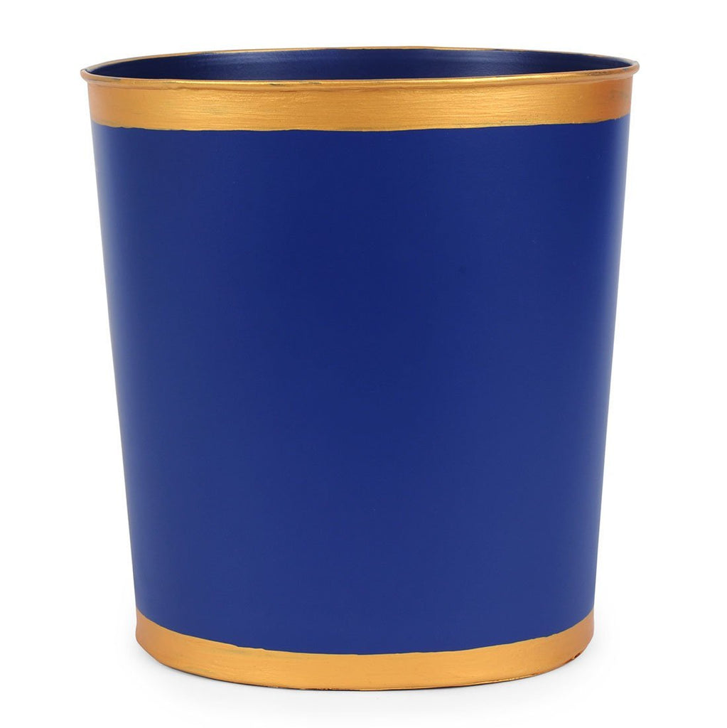 Navy Color Block Oval Wastebasket