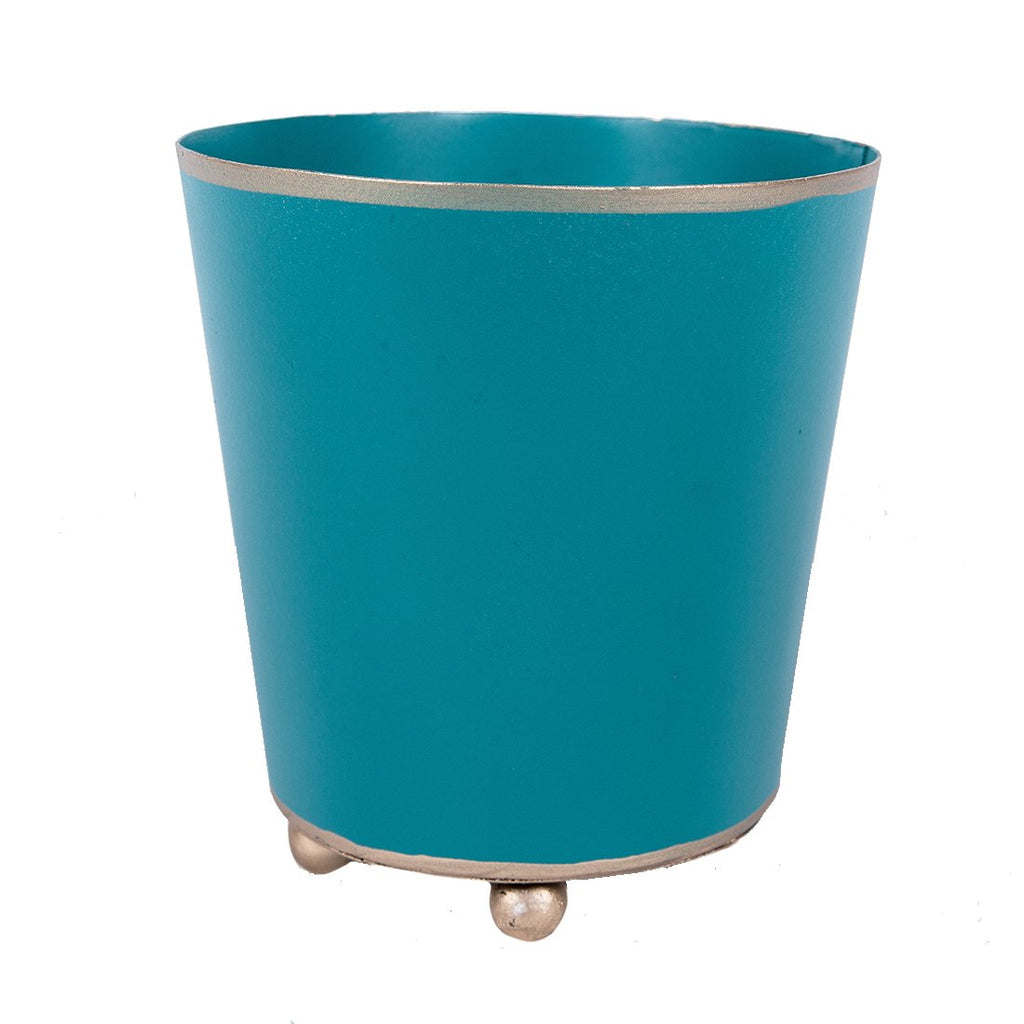 "4"" Round Teal Cachpot"