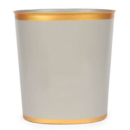 Taupe Color Block Oval Wastebasket
