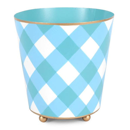 "Turquoise Gingham 6"" Round Cachepot"