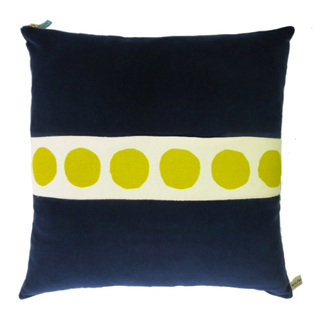 Navy Velvet Dotted Pillow