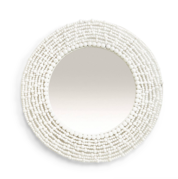 "24"" Round White Wooden Beads Wall Mirror"