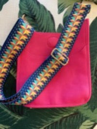 Mini Messenger Bag Hot Pink w/ Rainbow Adjustable Strap