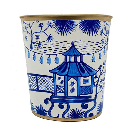 Blue Garden Party Wastebasket