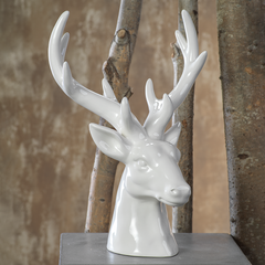 White Christmas Stag Head