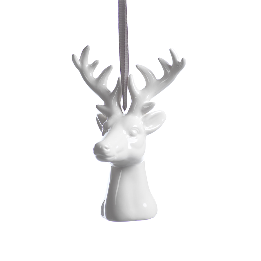 Ceramic White Reindeer Ornament