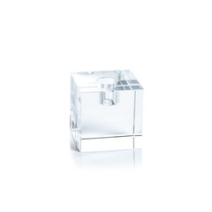 Small Square Crystal Glass Taper Holder