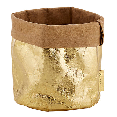 Medium Metallic Gold Washable Paper Basket