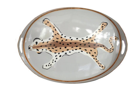 Oval Leopard Tray In Gray