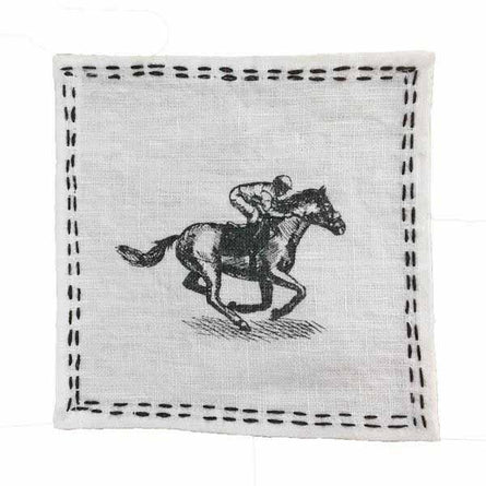 Equestrian Embroidered Cocktail Napkins S/4