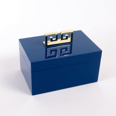 Blue Lacquer Greek Key Box