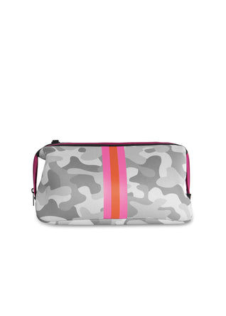 Erin White Camo Cosmetic Bag with Pink/Orange Stripe
