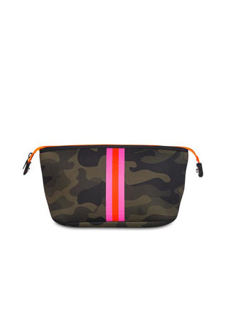 Erin Green Camo Cosmetic Bag with Pink/Orange Stripe