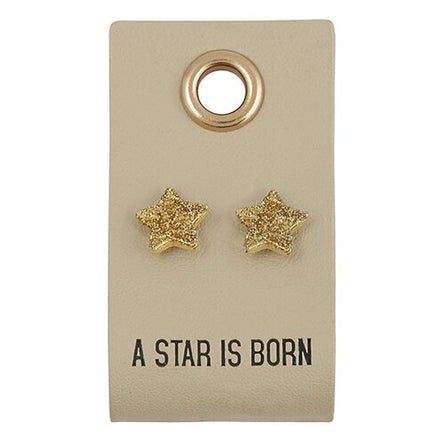 A Star is Born Earrings on Leather Tag
