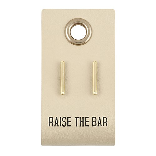 Raise the Bar Earrings on Leather Tag