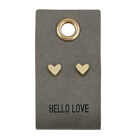 Hello Love Earrings on Leather Tag