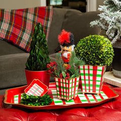 "Holiday Plaid 6"" Cachepot"
