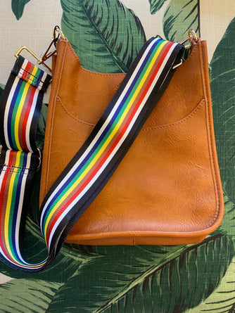 Mini Messenger Bag Camel  w/ Striped Adjustable Strap