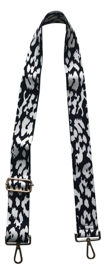 Black White Leopard Adjustable Bag Strap