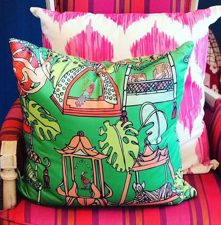 Green Tropical Menagerie Pillow