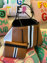 Greyson Naples Tote In Saddle w Black Stripe