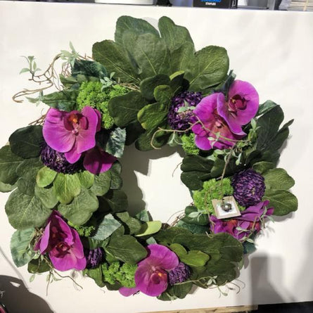 Faux Orchid + Succulent Custom Wreath